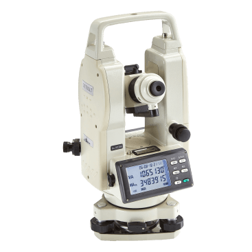 "The Datum DET05LT Electronic Theodolite has 5"" accuracy and a simple set-up with angles shown on a clear LCD dual-sided display."