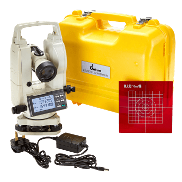 "Datum DET05LT Electronic Theodolite has 5"" accuracy and a simple set-up with angles shown on a clear LCD dual-sided display."