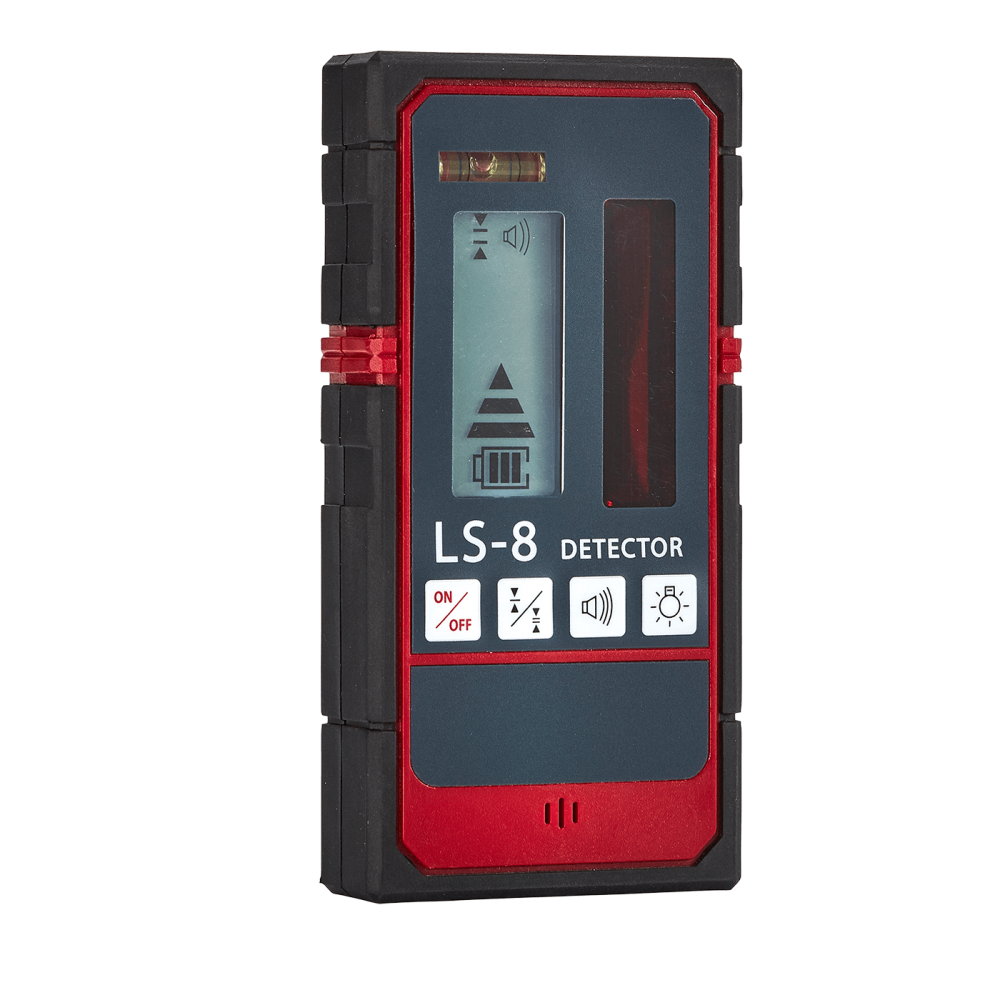 This affordable laser receiver has a dual screen display for front and back beam indication and features an audible buzzer if the display is not clearly visible such as if the detector is high up on a staff.